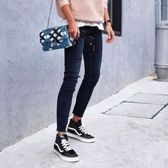 WEBSTA @ paige - Edgy Basics   Our favorite Transcend skinnies get an update for the season with dark washes and raw hem details. Link in bio to see more! #LIVEINIT @andicsinger