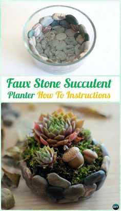 DIY Faux Stone Succulent Planter Mini Garden Instruction- DIY Indoor  #Succulent Garden Ideas Projects