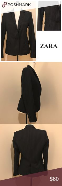 EUC Zara striped blazer No signs of wear on this beautiful classic blazer. Wear it to the office, or with jeans and flats on a casual day. One button fastening, chest pocket, 2 side pockets, stripe detail.  Medium size, fabric is a mix of polyester and viscose. Zara Jackets & Coats Blazers