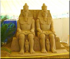 Egyptian King & Queen - (male/female representation) Egyptian Kings, Sand Sculptures, Stone Sculpture, King Queen, Things To Come, Statue, Female, Reading, Artist