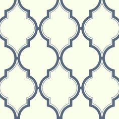 Sample Luxury Trellis Wallpaper in Ivory and Blue by Antonina Vella for York Wallcoverings