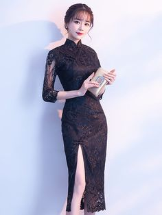 Formal Womens Side Slit Cheongsam Bodycon Dress Chinese Short Sleeve Slim Qipao - Chinese Dresses - Ideas of Chinese Dresses Sexy Dresses, Beautiful Dresses, Fashion Dresses, Formal Dresses, Ao Dai, Ball Gowns Evening, Evening Dresses, Vestidos Sexy, Cheongsam Dress