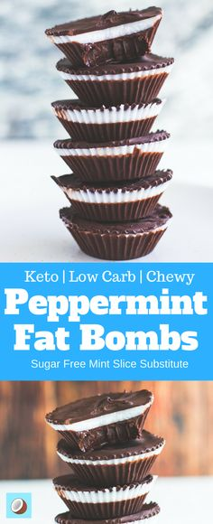 I've always had a soft spot for Mint Slice biscuits here in Australia, my kryptonite on the ketogenic diet, but with these easy little Peppermint Fat Bombs. well, I'm no longer inhibited by my weaknesses. From here on in, I can push past the mint slice Keto Foods, Ketogenic Recipes, Keto Recipes, Dessert Recipes, Ketogenic Diet, Healthy Recipes, Healthy Fats, Healthy Slices, Dinner Recipes