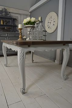 Dining Table Chairs Extendable French Grey Vintage Repainting Furniture Diy Projects Farrow Ball Shabby Chic