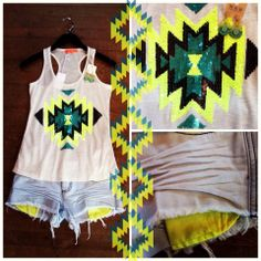 How perfect is this outfit?! Pair our Neon Native tank with our Pocket like it's Hot shorts! Tank $27.74 (sizes S/M and M/L), Shorts $42.74   Neon Aztec  Http://bit.ly/shopruthiegrace