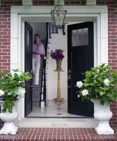 Entry of Normandy residence, designed by Bear Hill Interiors Black Front Doors, Big Doors, Cottage Front Doors, Front Door Decor, Entry Foyer, Entry Doors, Front Entry, Front Porch, Hill Interiors