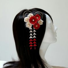 red and white kanzashi with shidare  http://www.etsy.com/listing/128325346/elegant-red-chrysanthemum-and-white?ref=shop_home_active