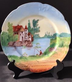 Antique Limoges France Handpainted Decorative Plate French Countryside Fisherman #Limoges : french decorative plates - Pezcame.Com