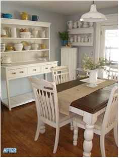 Dining Room - Love the white hutch, shelves, the dark walnut country table top & the hardwood floors.