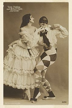 """Michel Fokine and Vera Fokina in Ballet Russes """"Carnival,"""" 1913-14"""