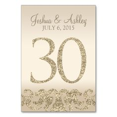 Glitter Look Wedding Table Numbers-Table Card 30