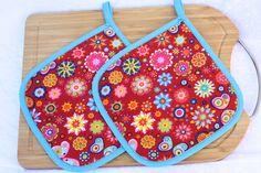 Topflappen - Topflappen rot türkis Blumen Schmetterling Küche  - ein Designerstück von trixies-zauberhafte-Welten bei DaWanda