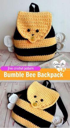 Crochet Bumble Bee Backpack - free crochet pattern #crochetbackpack #freepattern #kids #bumblebee