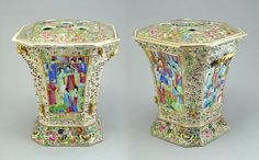 Pair of finely decorated Canton porcelain bough pots, c. 1850 China : The British Antique Dealers' Association