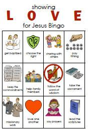 Showing love for Jesus Bingo game by Lynette Beckstrom on Sugargardoodle.net. 8 different playing cards.