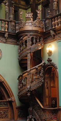 Wooden Spiral Staircase - Peles Castle in Sinaia, Romania