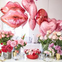 Are you going to have a party on Valentine's Day? if yup, here are Valentine's Party Decorations Ideas for you. Almost inseparable colors for parties on Valentine&… Valentines Day Food, Valentines Day Decorations, Valentine Day Love, Valentine Party, Brunch Party Decorations, Valentines Balloons, Valentine Table Decor, Walmart Valentines, Pink Decorations