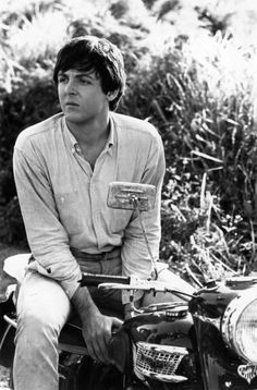 Paul McCatrney on a motorcycle, thats almost too much coolness in one pic.