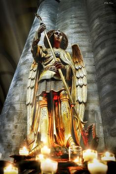 Statue of St Michael in St. Michael and St. Gudula Cathedral Brussels, Belgium. I was able to see this in person and its amazing!!!