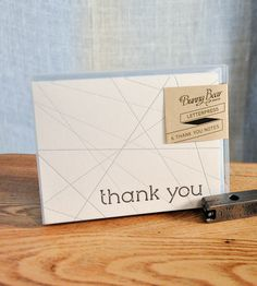 Silver & Black Criss-Cross Letterpress Thank You Card - Pack of 6 | This modern thank you card was designed on the maker's compute... | Greeting Cards