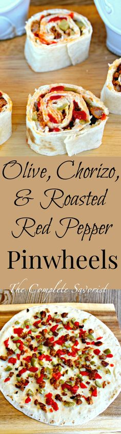 Olive, Chorizo, and Red Pepper Pinwheels ~ Classic appetizer made with a Spanish flare using garlic-herb creamy cheese spread thin on a flour tortilla and dotted with diced roasted red peppers, chorizo, and pimento stuffed Spanish Queen olives ~ The Complete Savorist Perfect holiday appetizer. #mezzettamemories