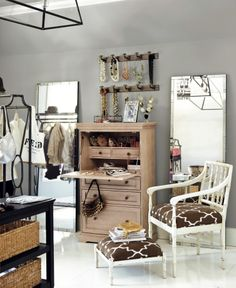 Gray closet with lots of accessories