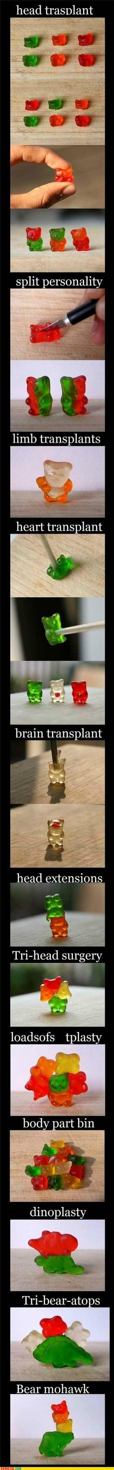 so... he likes to cut and put things back together...how about gummy bears??