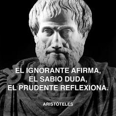 « El ignorante afirma, el sabio duda y el prudente reflexiona. » - Aristóteles #aristote #saber #ignorante http://www.pandabuzz.com/es/cita-del-dia/aristóteles-cita-reflexión