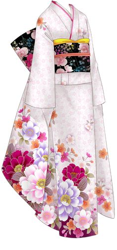 Make a kimono of some sort~ Anime Kimono, Anime Dress, Yukata, Anime Outfits, Cool Outfits, Drawing Clothes, Japanese Outfits, Fashion Art, Fashion Design
