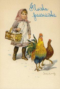 Vintage Swedish Easter greeting postcard (Illustration by Jenny Nyström) Vintage Greeting Cards, Vintage Christmas Cards, Vintage Postcards, Vintage Images, Fete Pascal, Easter Art, Wow Art, Coq, Vintage Artwork