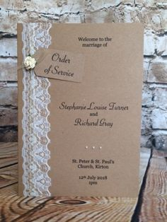 """Vintage Lace"" Order of Service / Order of the Day, £3.55"