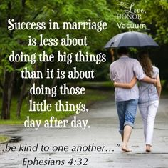 As someone who has lost her husband and best friend, my advice to married couples is to treasure the small things.  Those are the things I am missing most right now.