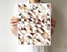 Dreiecke altrosa - geometrisch druck 28x35 cm