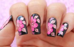 Flowers design nails nailart 23 Ideas for 2019 Flower Nail Designs, Flower Nail Art, Nail Art Designs, Easy Nail Art, Cool Nail Art, Hot Nails, Pink Nails, Gorgeous Nails, Pretty Nails