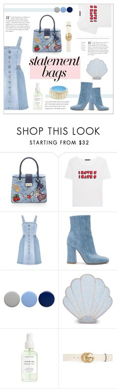 """PLAY IN DENIM"" by sodapopcandy ❤ liked on Polyvore featuring AlexaChung, STELLA McCARTNEY, Gianvito Rossi, Burberry, Sugar Thrillz, Gucci, denimtrend, statementbags and denimoutfits"