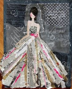 Neat collage with newspaper skirt