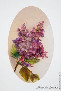 Купить Ветка сирени - Вышивка лентами, шелк натуральный, цветы, сирень, букет, весенний, цветочный