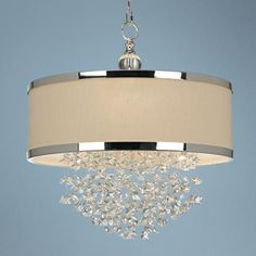 From Uttermost, this Fascination Collection chandelier updates the classic appeal of crystal for today's sophisticated tastes. It features silver finish metalwork adorned by crystal accents and a silken drum shade. Chandeliers, 3 Light Chandelier, Tiffany Chandelier, Chandelier Ideas, Room Lights, Ceiling Lights, Up House, Drum Shade, Light Fixtures