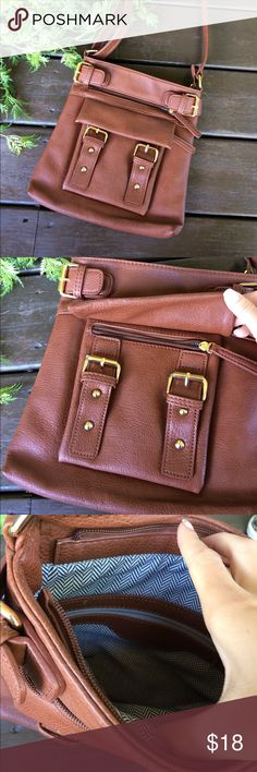 Faux leather cross body brown purse Perfect condition, buckles in front Bags Crossbody Bags