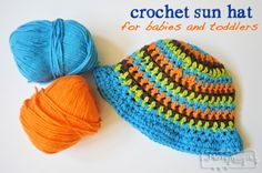 Free Patterns for a Crochet Sun Hat for Babies and Toddlers using Cotton Yarn via My Merry Messy Life