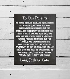 Chalkboard Wedding Sign Wedding Reception Decor Wedding Ceremony Sign Thank You To The Bride And Groom's Parents HUGE Printable DIY Marriage...