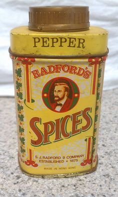 Radford's Spices metal pepper tin vintage by FlowerChildTrends