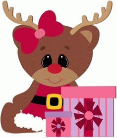 Silhouette Design Store - View Design #49558: girl reindeer sitting with presents
