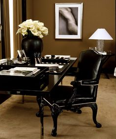 (This color scheme for our home office.) Ralph Lauren Home Penthouse Modern New York City Style Office Interior Design, Home Office Decor, Office Interiors, Home Decor, Ideas Para Organizar, Style Deco, Classic Interior, Mid Century House, Luxury Living