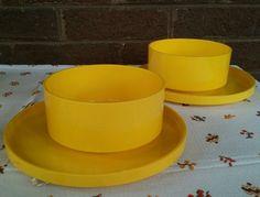 4 Heller Massimo Vignelli Set of Salad Plates & Bowls - Yellow Stacking Melamine