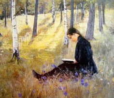 Ada Thilén(Finnish 1852ー1933)「Girl Reading in the Landscape」(1896)