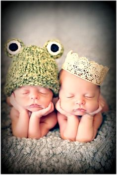 Twin newborn infants princess and the frog