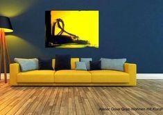 Moderne Kunst für Wohnzimmer Haus Wand Dekor, Original Acryl Malerei auf Leinwand, Painting Modern Wall Art, Gelb,