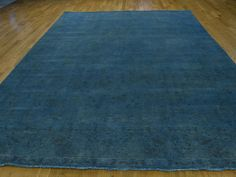 "9'x13'7"" Blue Overdyed Tabriz Hand-Knotted Pure Wool Persian Rug #rug #rugs #home #decor #carpet #interior #decoration #sale #store #oriental #wool #modern #runner #cotton #floor #handmade #livingroom"
