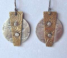 Spike Rivet Earrings silver and brass by jordanfineartjewelry